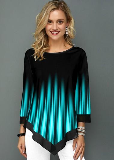 Asymmetric Hem Printed Ombre Round Neck T Shirt - L