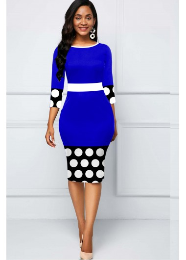 Polka Dot Round Neck Contrast Dress - L