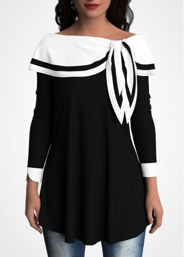 Sailor Collar Contrast Tulip Sleeve Tunic Top - L