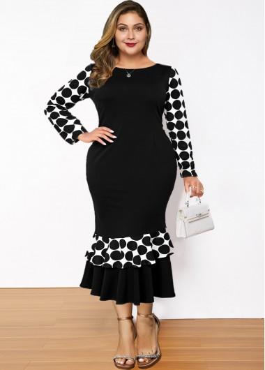 Plus Size Polka Dot Ruffle Hem Dress - 1X