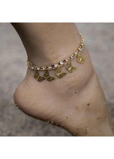 Rhinestone Detail Butterfly Gold Metal Anklet - One Size