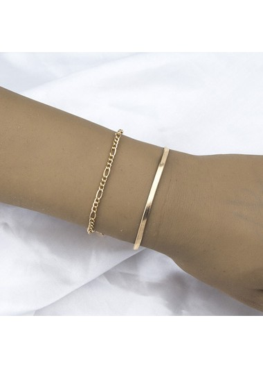 Gold Metal Chain Bracelet Set - One Size