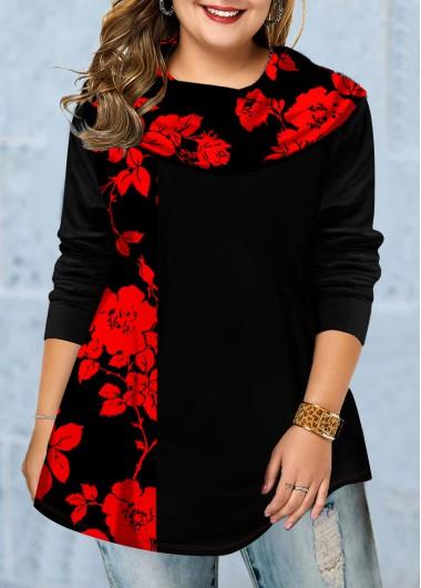 Plus Size Floral Print Cowl Neck Tunic Top - 1X