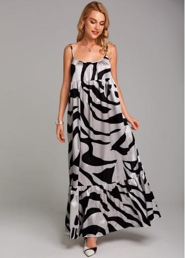 Spaghetti Strap Zebra Print Maxi Dress - L