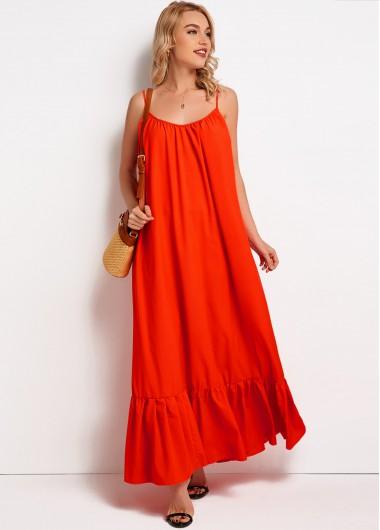 Spaghetti Strap Tie Back Maxi Dress - 2XL