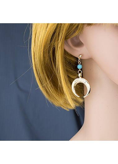 Sun and Crescent Design Gold Metal Earring Set - One Size