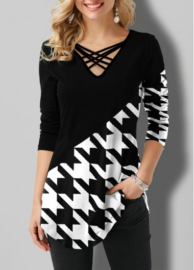 Houndstooth Print Contrast Strappy Neck T Shirt - L
