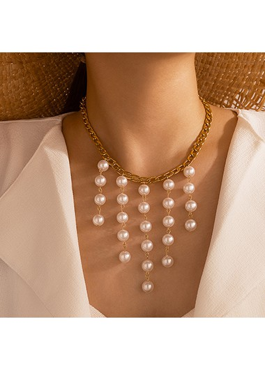 Pearl Detail Gold Metal Chain Necklace - One Size