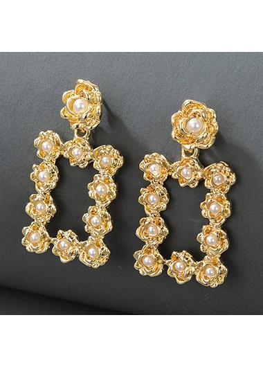 Pearl Detail Gold Metal Earring Set - One Size