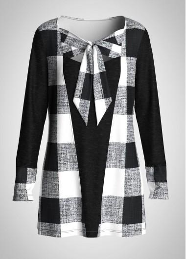 Plaid Bowknot Long Sleeve Tunic Top - L