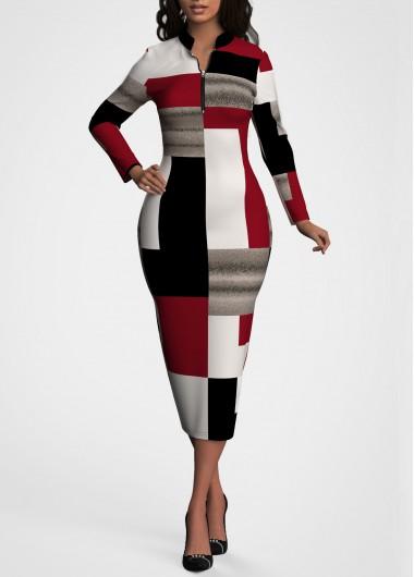 Contrast Quarter Zip Long Sleeve Dress - L