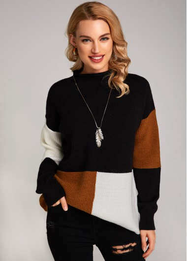 Mock Neck Contrast Long Sleeve Sweater - L