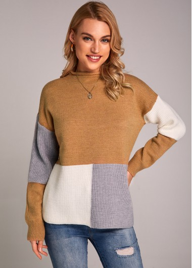 Long Sleeve Mock Neck Contrast Sweater - S