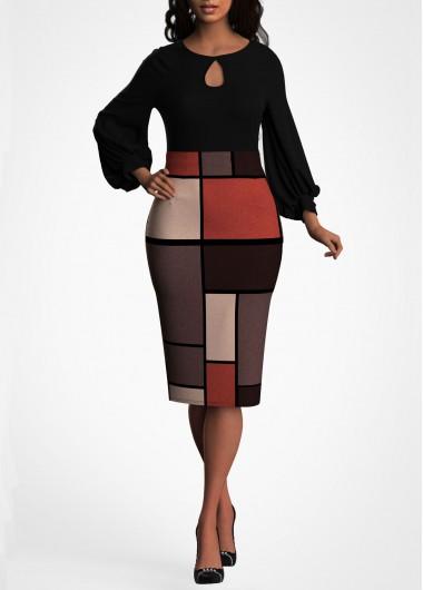 Geometric Print Lantern Sleeve Keyhole Neckline Dress - L
