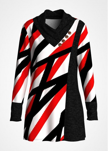 Striped Long Sleeve Button Tunic Top - L