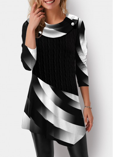 Asymmetric Hem Printed Twisted Pattern Tunic Top - L