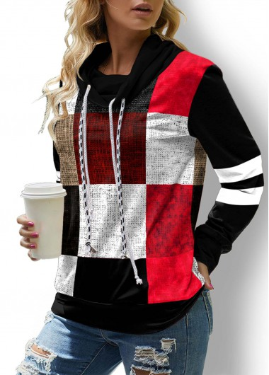 Plaid Contrast Drawstring Long Sleeve Sweatshirt - L