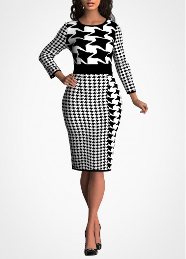Houndstooth Print 3/4 Sleeve Bodycon Dress - L