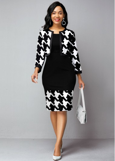 Open Front Cardigan and Houndstooth Print Dress - L