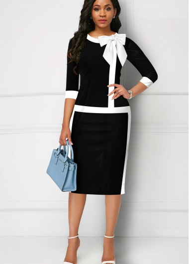 Contrast Piping Bowknot 3/4 Sleeve Dress - L