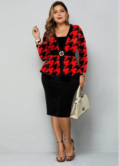 Plus Size Houndstooth Print Pearl Button Dress - 1X