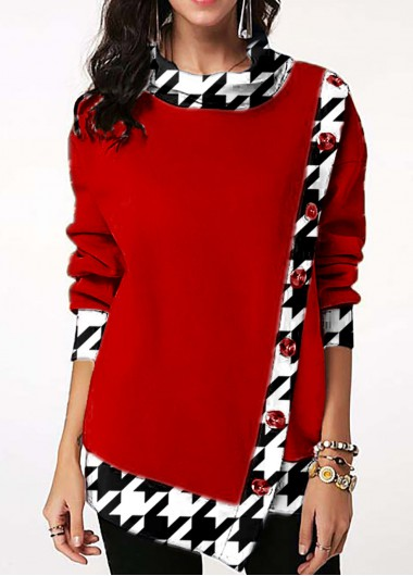 Houndstooth Print Decorative Button Contrast Sweatshirt - L