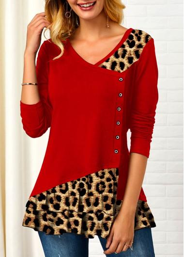 Leopard Contrast Long Sleeve V Neck T Shirt - L