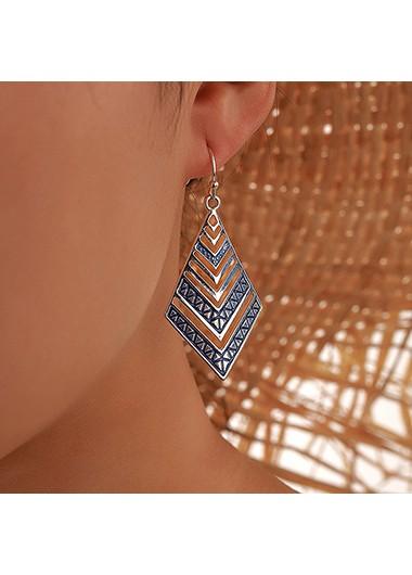 Rhombus Design Blue Metal Earring Set - One Size