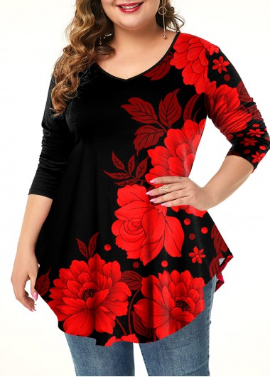 Floral Print Plus Size Asymmetric Hem T Shirt - 1X