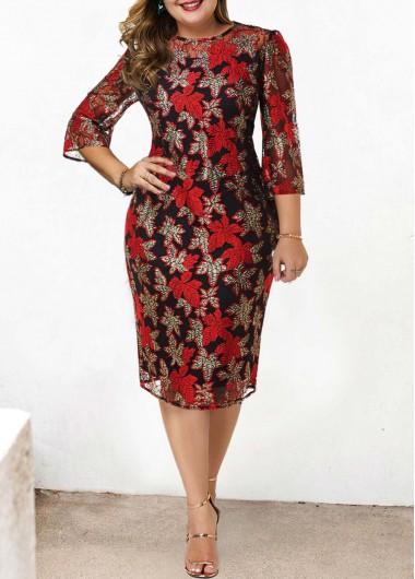Plus Size Lace Stitching Round Neck Dress - 1X