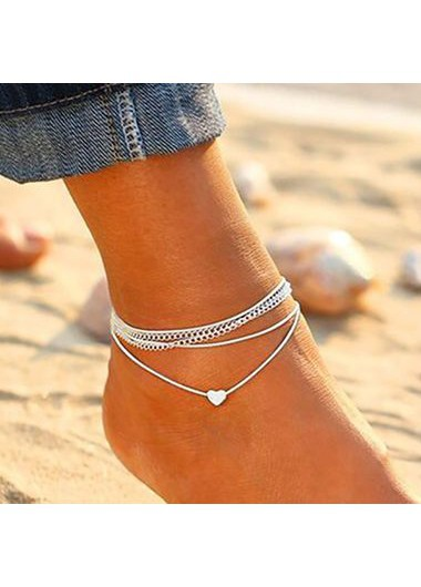 Heart Shape Silver Metal Anklets for Woman