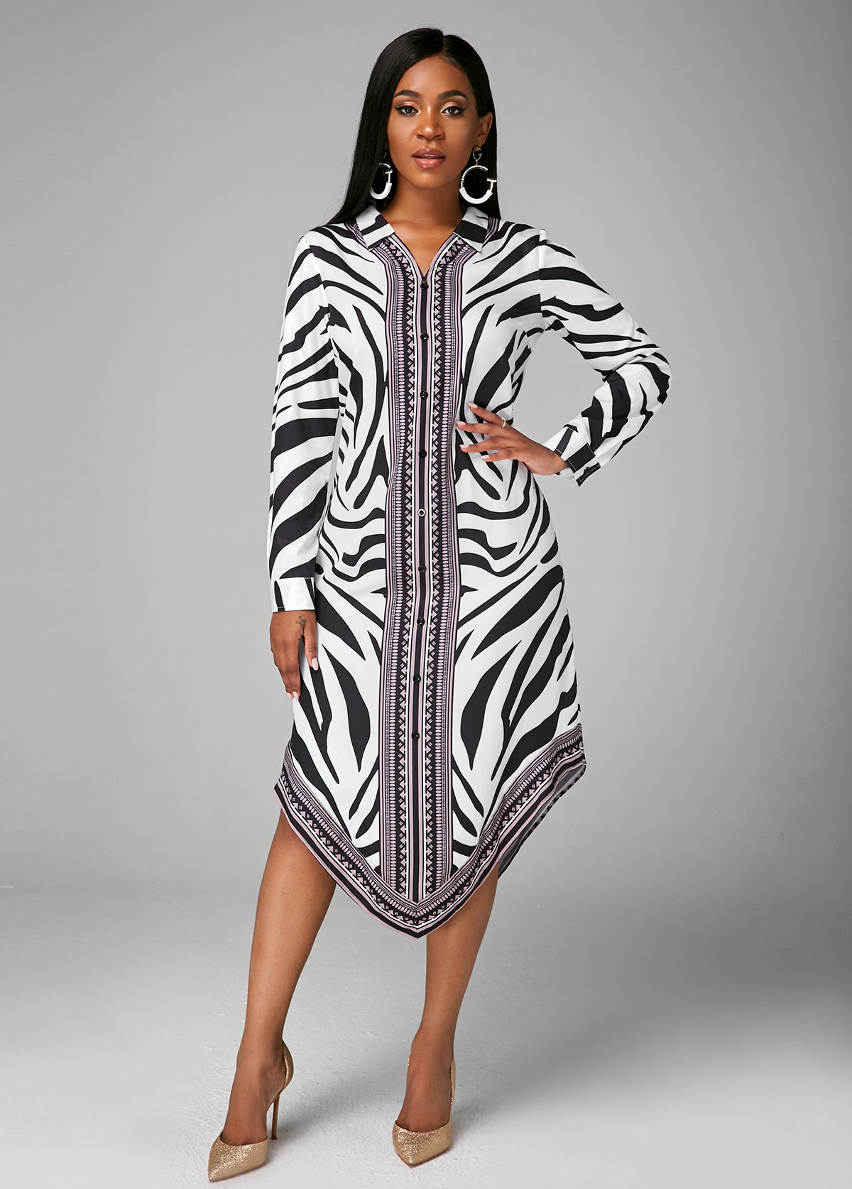 Geometric Print Long Sleeve Turndown Collar Dress