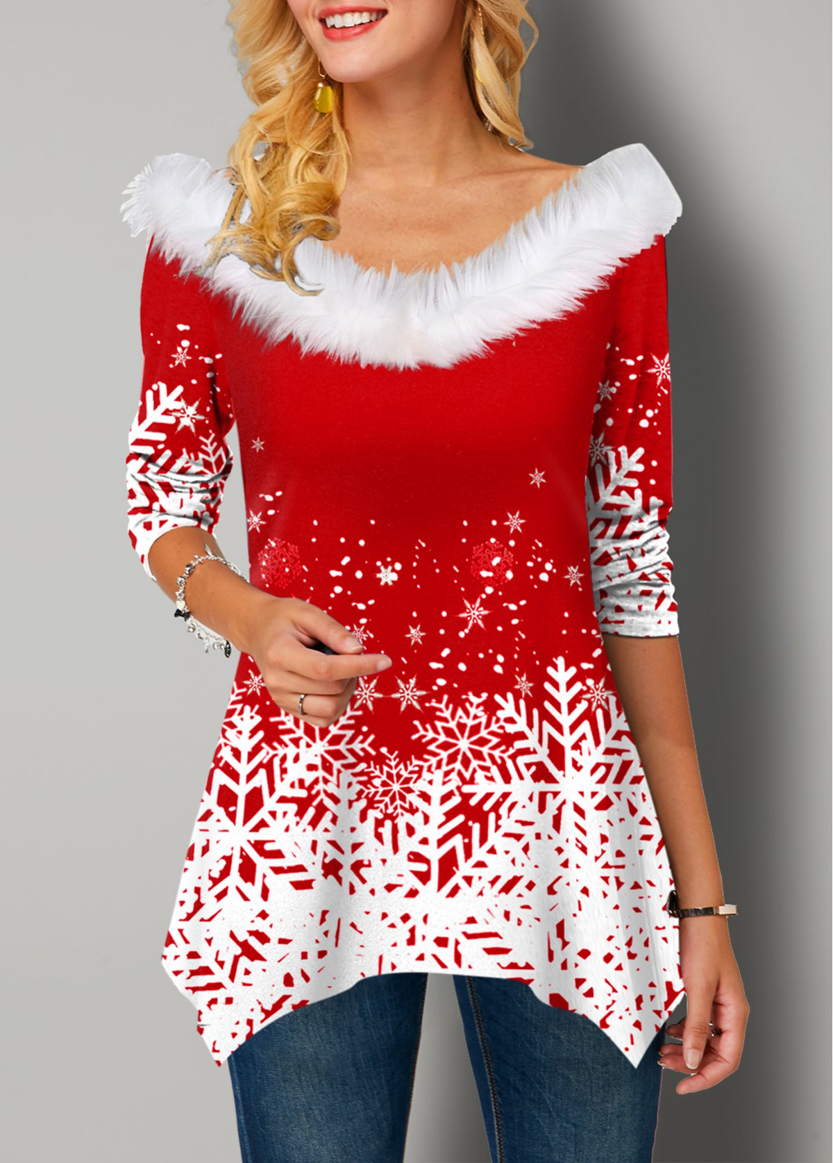 Christmas Print Fur Collar Asymmetric Hem T Shirt