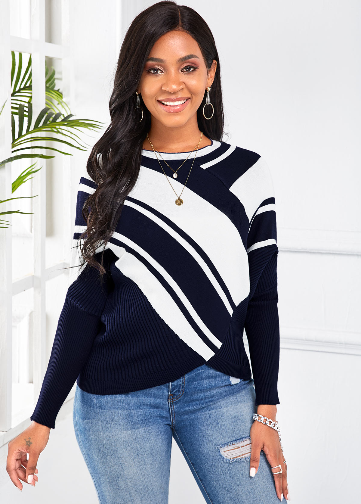 Striped Round Neck Long Sleeve Sweater