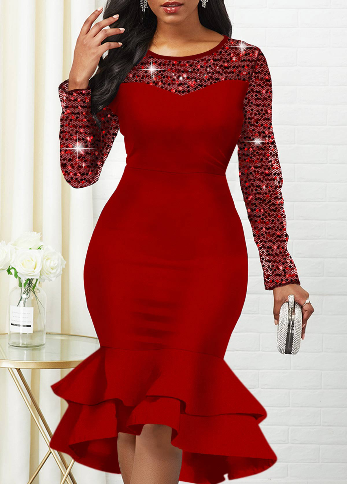 Sequin Detail Round Neck Long Sleeve Mermaid Dress