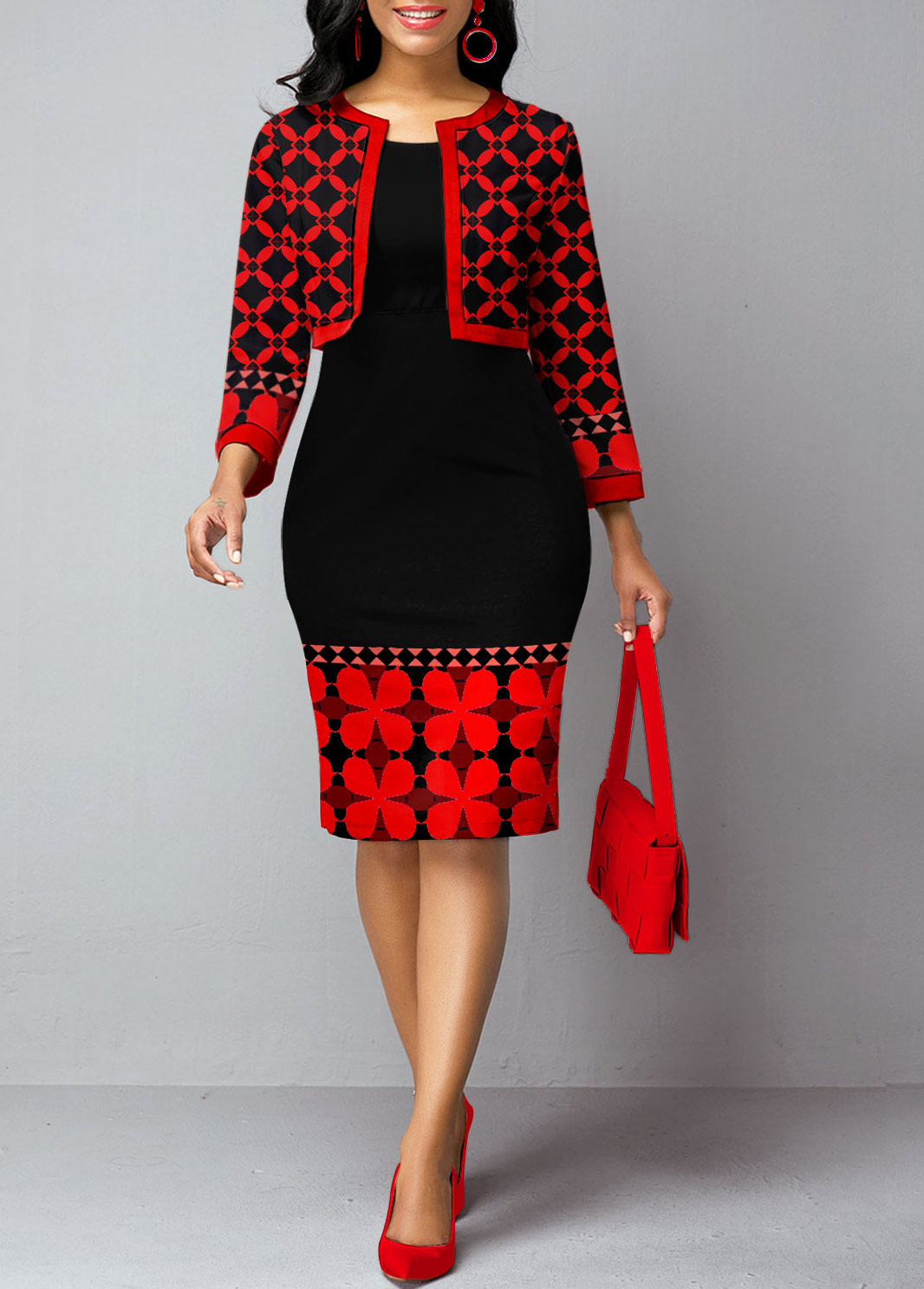 Tribal Print Open Front Cardigan and Sheath Dress