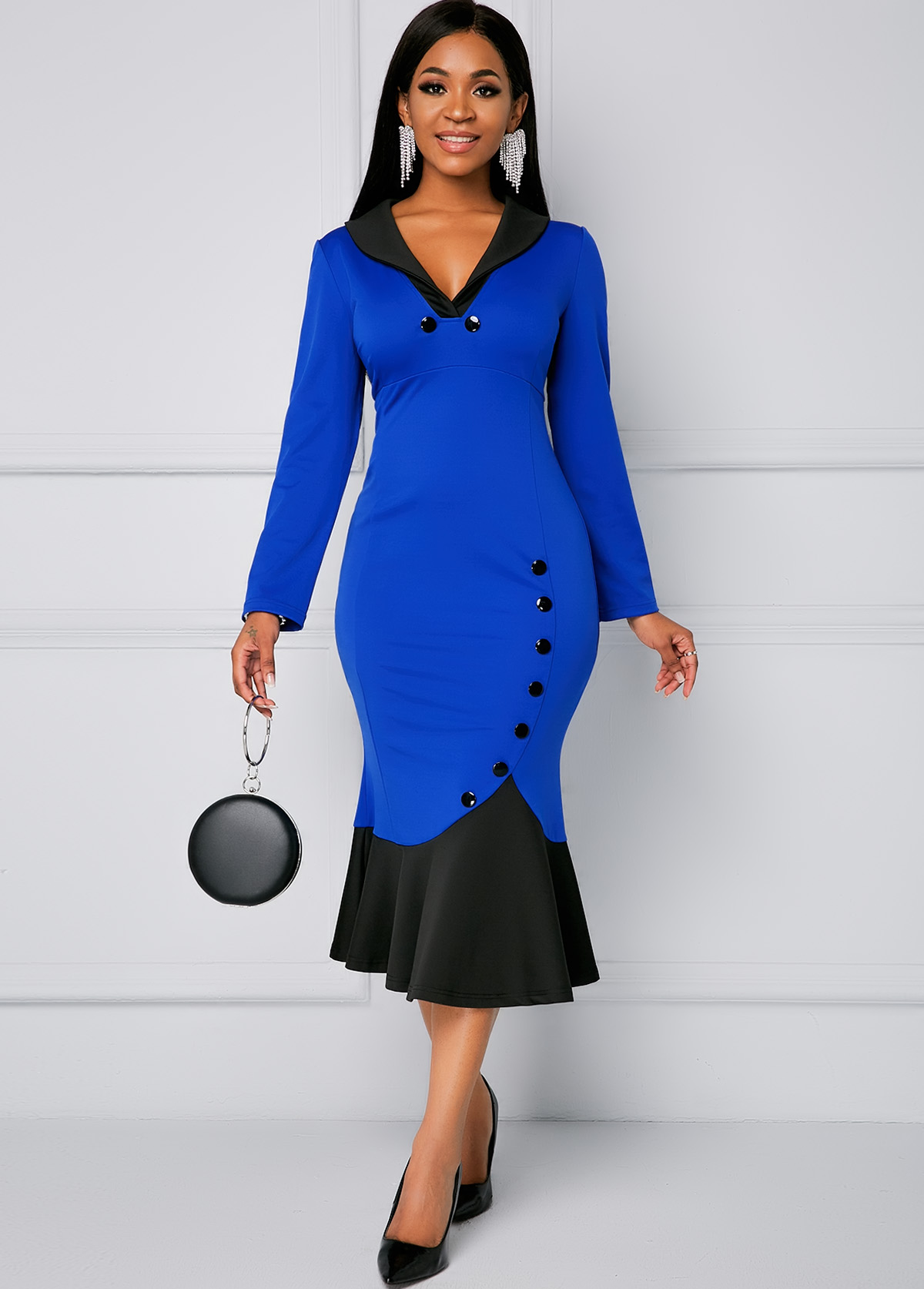 Contrast Long Sleeve Button Mermaid Dress