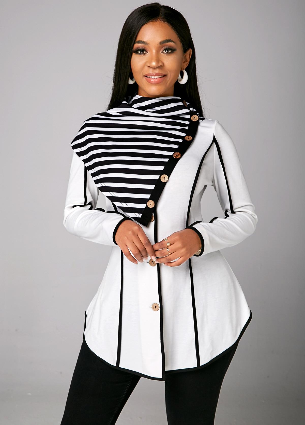 Striped Asymmetric Hem Long Sleeve Sweatshirt