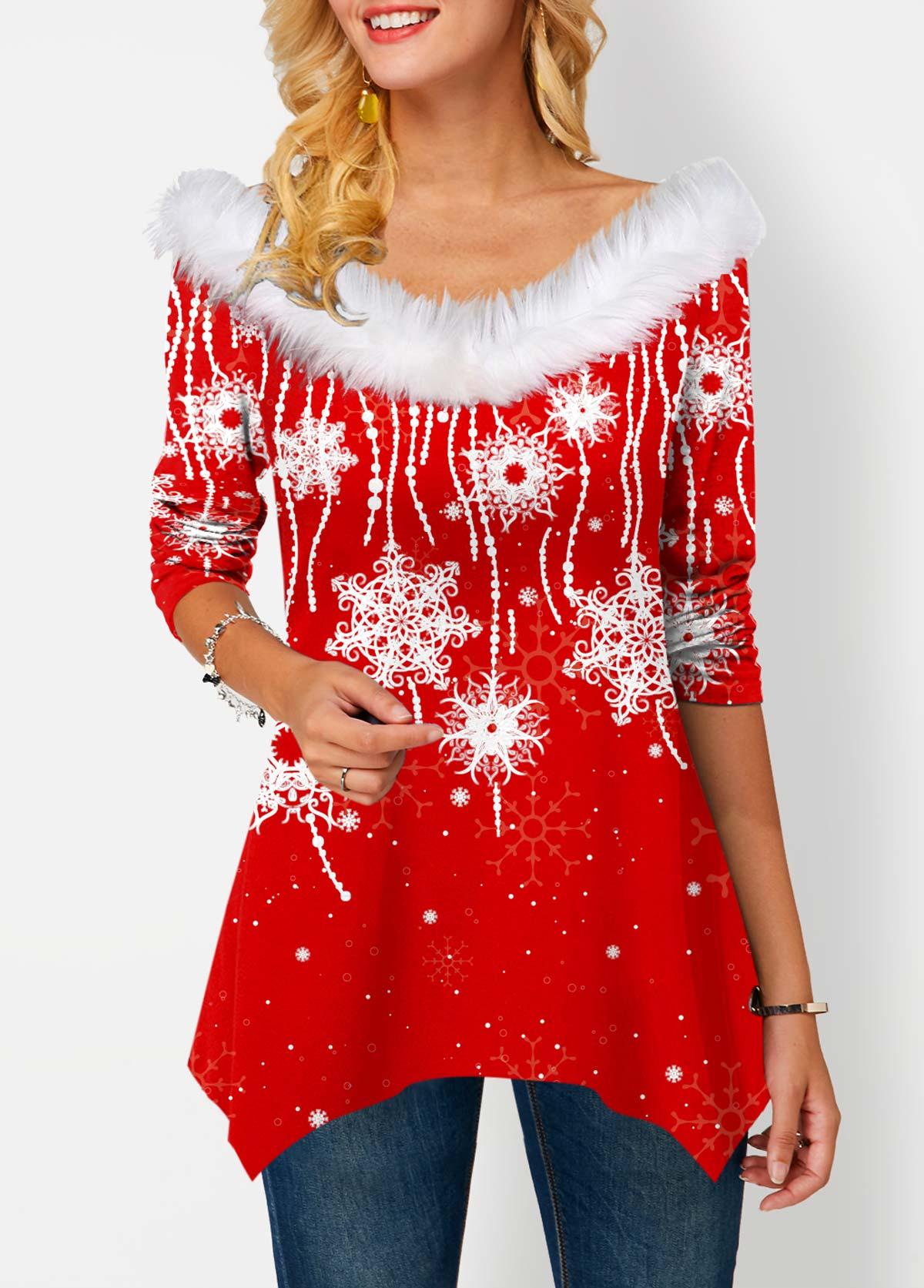 Faux Collar Snowflake Print Asymmetric Hem T Shirt