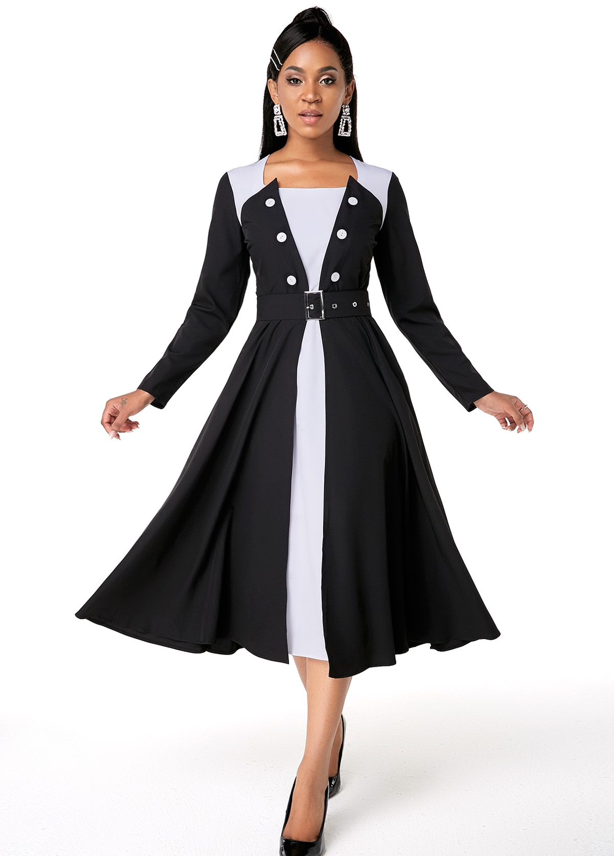 Contrast Button Detail Belted Long Sleeve Dress