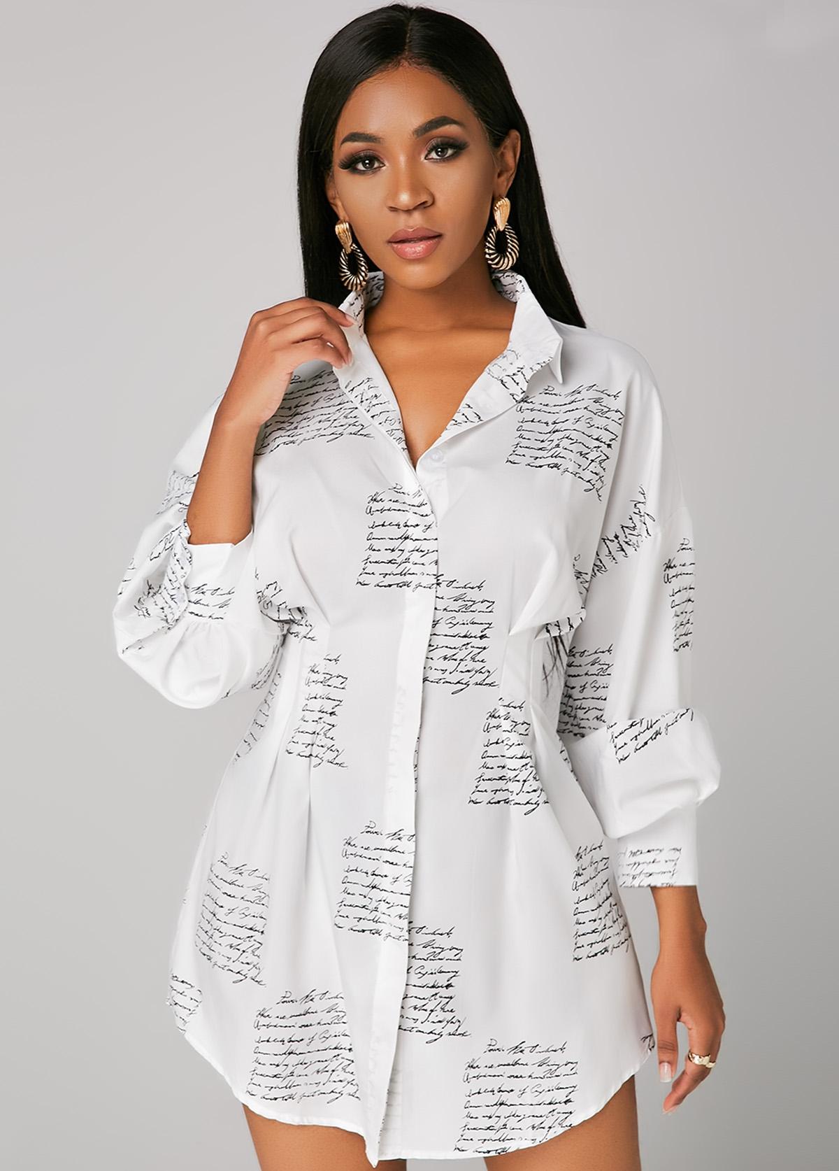 Letter Print Button Up Turndown Collar Shirt Dress