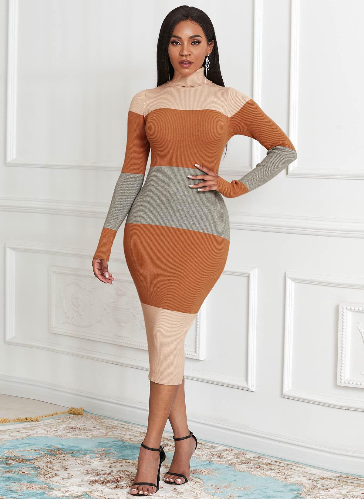 Color Block Turtleneck Long Sleeve Sweater Dress
