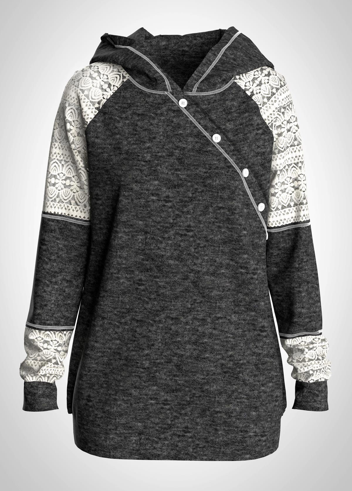 Plus Size Lace Panel Contrast Button Detail Hoodie