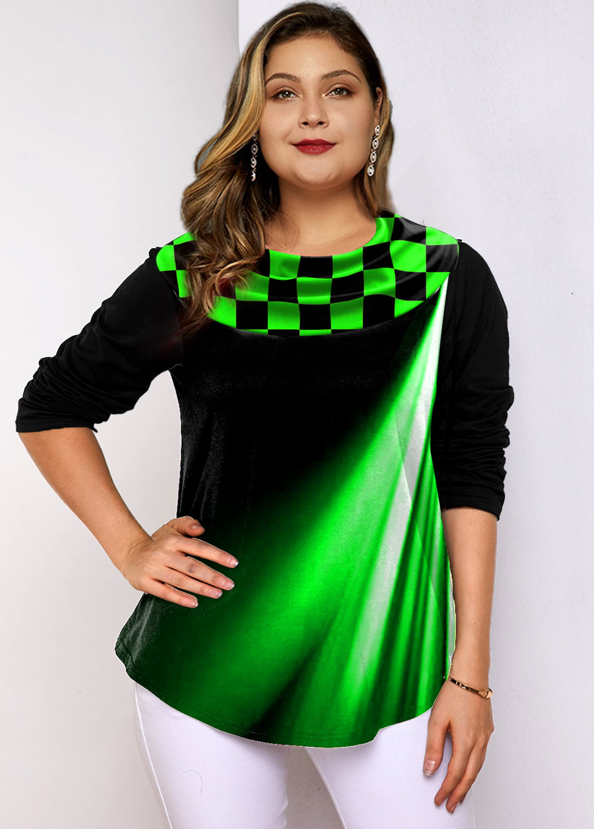 Plus Size Printed Long Sleeve Green Ombre Tunic Top