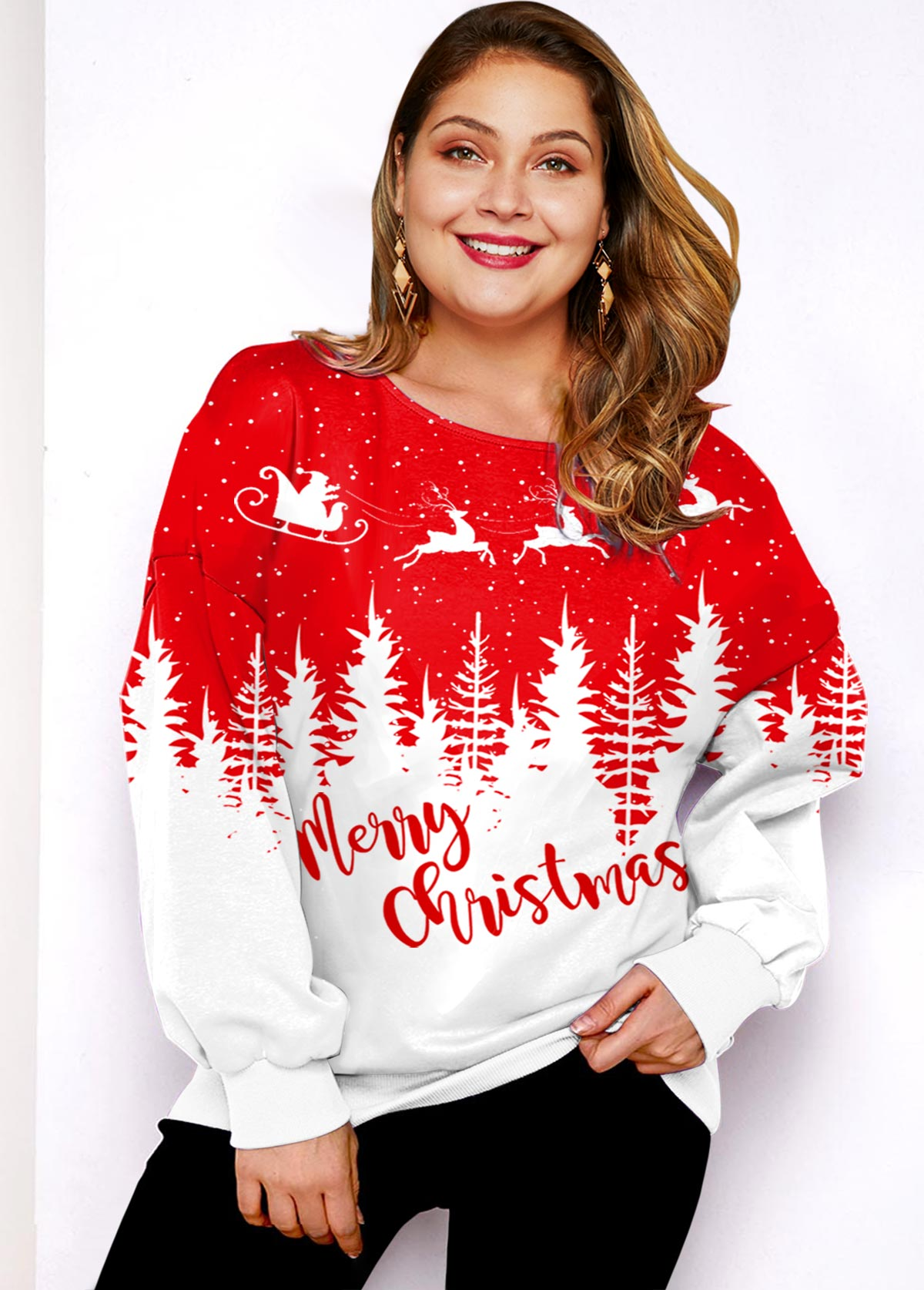 Christmas Print Round Neck Plus Size T Shirt