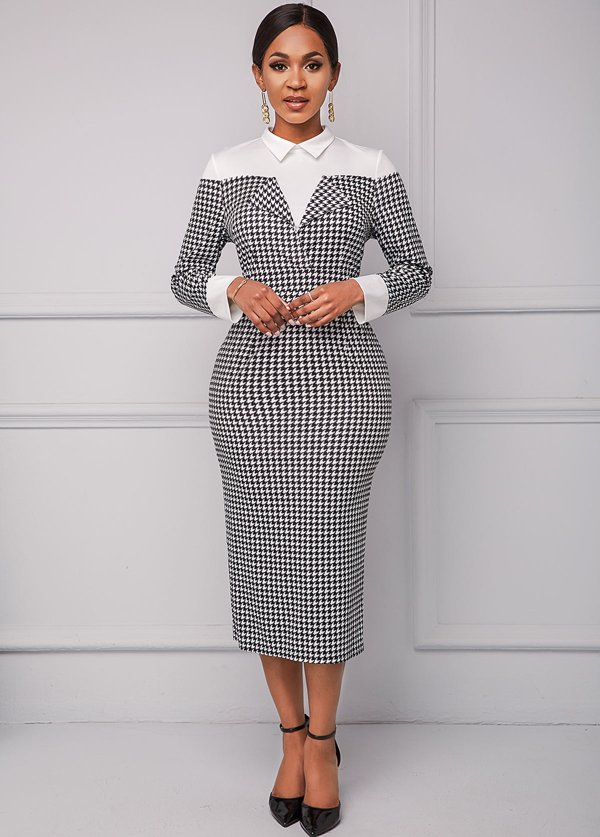 Houndstooth Print Turndown Collar Long Sleeve Dress