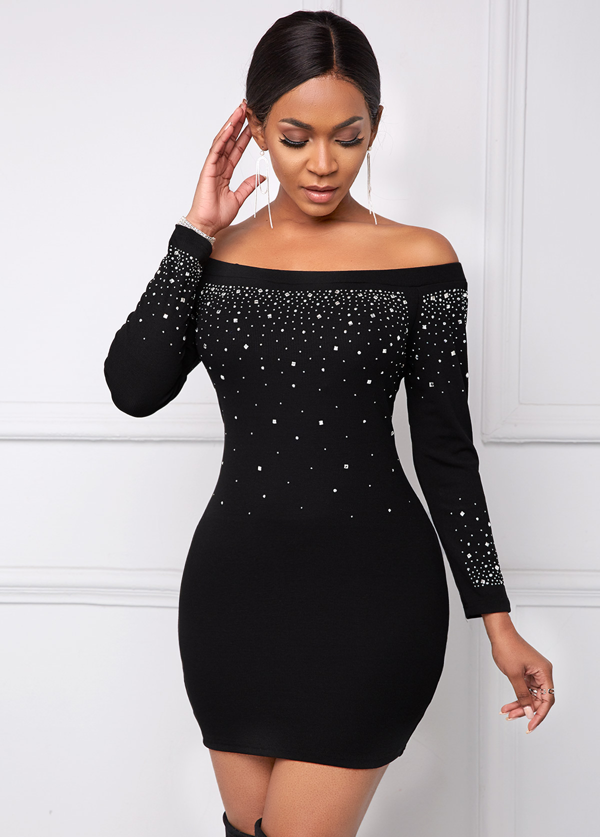 Hot Drilling Off Shoulder Long Sleeve Dress