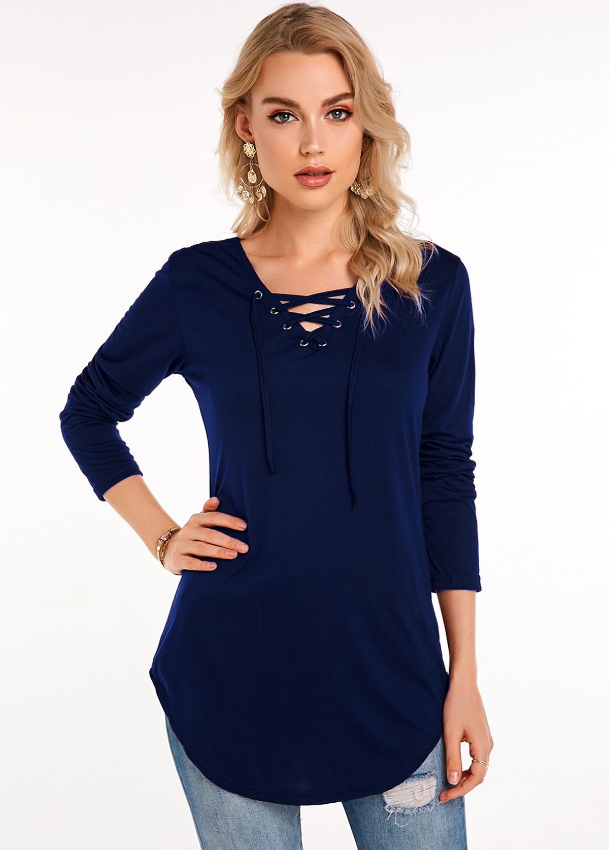 Navy Blue Lace Up Long Sleeve T Shirt