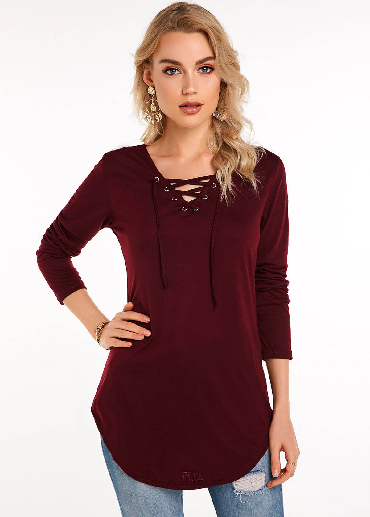 Wine Red Lace Up Long Sleeve T Shirt