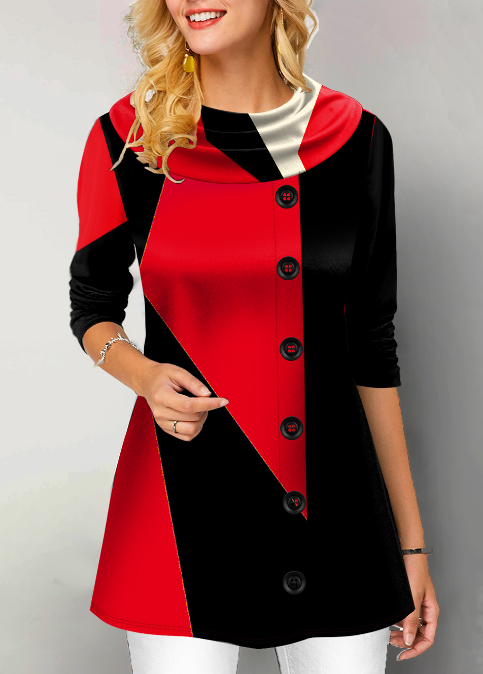 Button Detail Long Sleeve Contrast Tunic Top